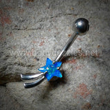 Blue Shooting Star Belly Button Ring Navel Ring Belly Piercing 14ga 316L Surgical Stainless Steel Body Jewelry