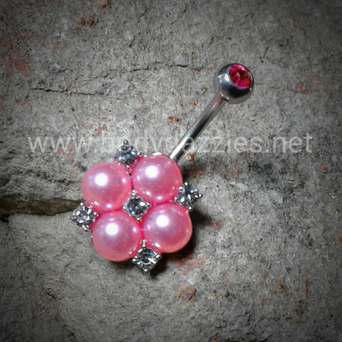 Cute Pink Pearl and Crystals Clustered 316L Surgical Steel Belly Button Navel Rings 14ga