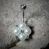 Cute Pearl and Crystals Clustered 316L Surgical Steel Belly Button Navel Rings 14ga