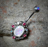 Grand Florid Opal Sparkle Belly Button Ring 14ga Navel Ring Body Jewelry Surgical Steel