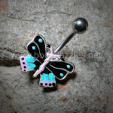 Butterfly Non Dangle Belly Ring Navel Ring Surgical Stainless Steel Body Jewelry