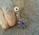Amethyst Center Flower Belly Button Ring Navel Ring Belly Piercing 14ga 316L Surgical Stainless Steel Body Jewelry - BodyDazzles