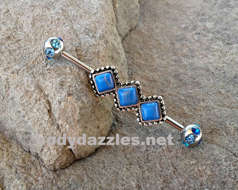 Diamond Industrial barbell with Blue Rhinestones 316L Surgical Stainless Steel 14ga Body Jewelry