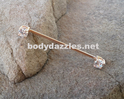 Rose Gold Rhinestone Industrial Barbell 14ga 316L Surgical Stainless Steel Body Jewelry