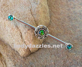 Green Glitter Opal Tribal Industrial Barbell 14ga Surgical Stainless Steel 316L Ear Barbell