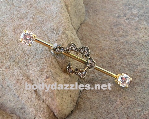 Golden Shooting Star Industrial Barbell With Rhinestone Ends 14ga Surgical Stainless Steel Ear Barbell