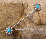 Turquoise Flower Industrial Barbell 316L Surgical Steel 14ga Ear Bar Body Jewelry