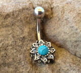 Turquoise Center Flowered Belly Button Ring Navel Ring Belly Piercing 14ga 316L Surgical Stainless Steel Body Jewelry