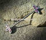 Pink Flower Industrial barbell With Rhinestones 14ga Surgical Steel Ear Barbell