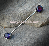 Tanzinite Silver Industrial barbell With Rhinestones 14ga Surgical Steel Ear Barbell