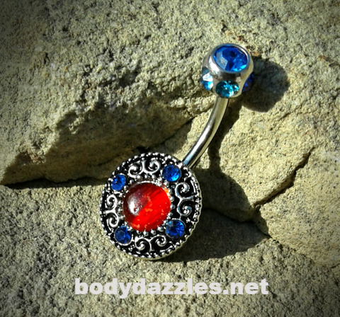 Tribal Cute Colorful Belly Button Ring Gem Center Gem Top Body Jewelry 14ga Surgical Stainless Steel Navel Ring