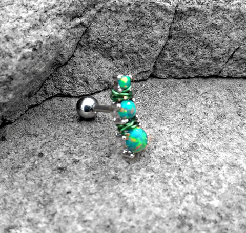 Green Triple Opal Prong Set 316L Surgical Steel Tragus/Cartilage Barbell 16g  Upper Ear Jewelry
