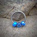 Glitter Blue Septum/Cartilage Hoop Ring  16ga Body Jewelry