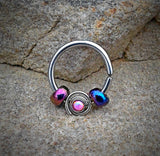 Pink Bendable Septum/Cartilage Hoop Ring with Opal Set Spiral 16ga
