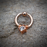 Rose Gold Captive Hoop with Rhinestone Cartilage Hoop Ring  16ga