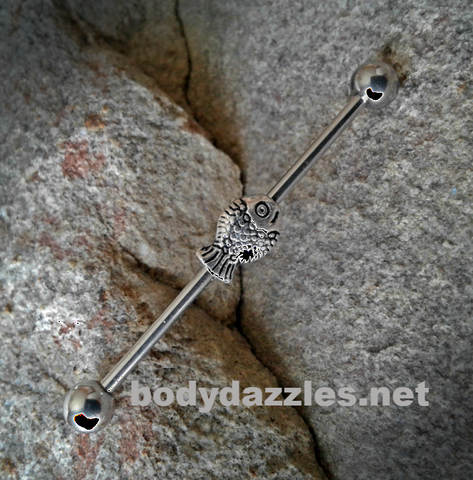 Fish with Balls  Industrial Barbell 14ga Surgical Stainless Steel