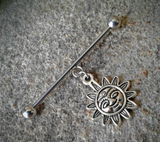 Tribal Sun Dangle Industrial Barbell 14ga Surgical Stainless Steel