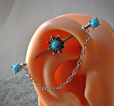 Sun with Turquoise and Dangling Chain Industrial Barbell 14ga Surgical Stainless Steel 38mm