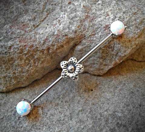 Flower Silver White Opal Ends Industrial Barbell 14ga Surgical Stainless Steel 38mm