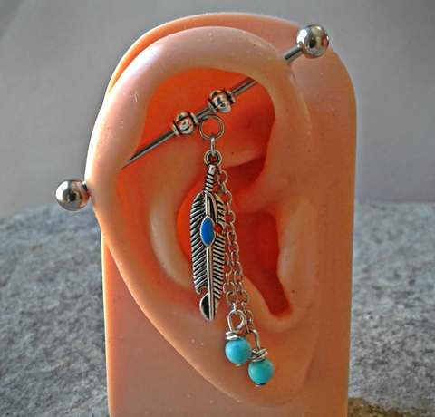 Feather Dangle Turquoise Bead  Industrial Barbell 14ga Surgical Steel 38mm