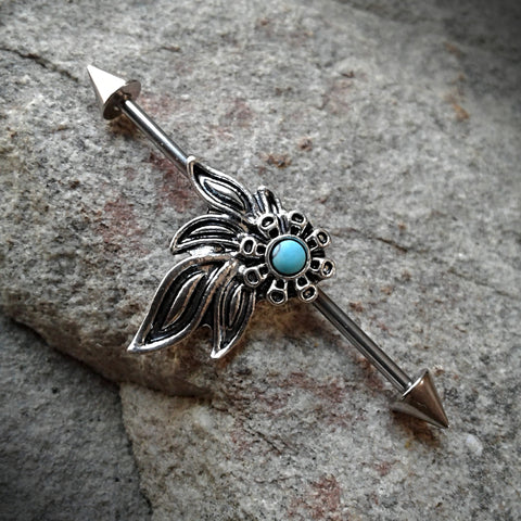 Rose Turquoise Tribal Industrial Barbell Body Jewelry 14ga Surgical Steel Spike Ends