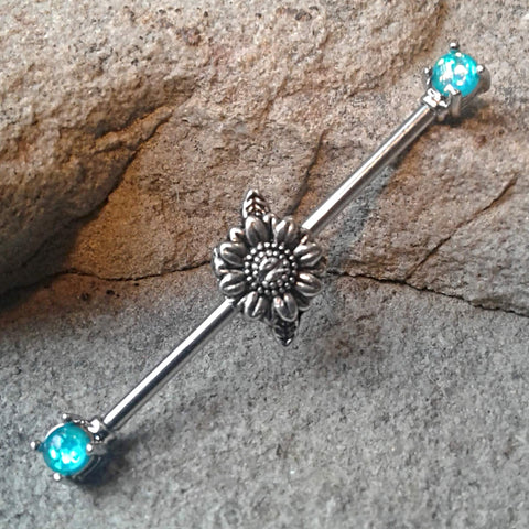Daisy Industrial Barbell Opal Teal Ends Surgical Stainless Steel Body Jewelry