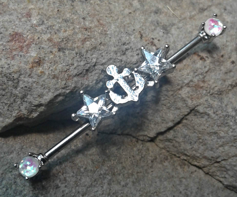 Anchor Industrial Barbell with Stars and White Opal Surgical Stainless Steel 14ga Body Jewelry