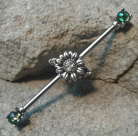 Daisy Industrial Barbell Opal Green Body Jewelry Body Piercing