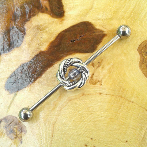 Knot Industrial Barbell Tribal Body Piercing Jewelry Scaffold Bar