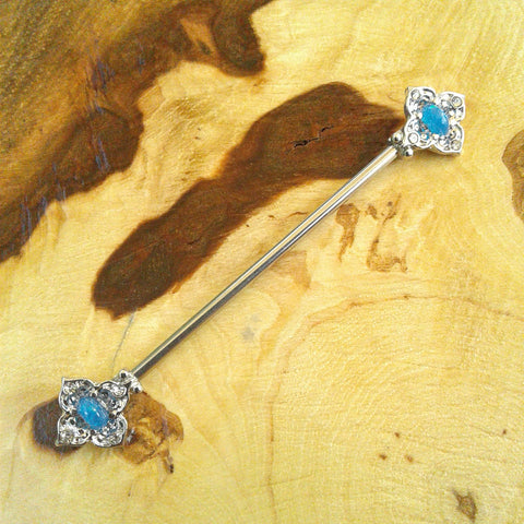 Blue Opal Tribal Industrial Barbell Body Piercing Jewelry Scaffold Bar