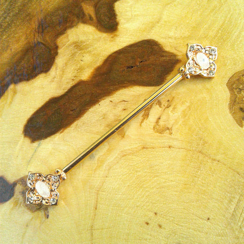 Rose Gold Opal Tribal Industrial Barbell Body Piercing Jewelry Scaffold Bar