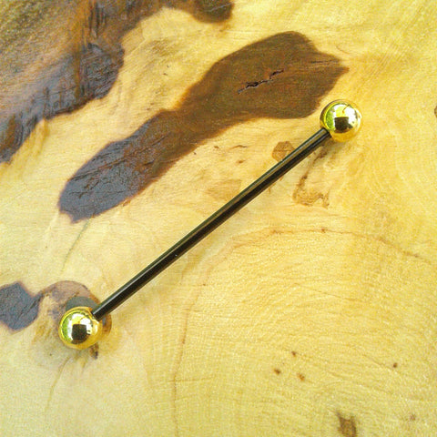Black and Gold Industrial Barbell Body Piercing Jewelry Scaffold Bar