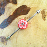 Pink Hawaiian Flower Industrial Barbell Body Piercing Jewelry Scaffold Bar