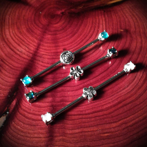 Flower Industrial Barbells Set of 3 Body Piercing Ear Jewelry