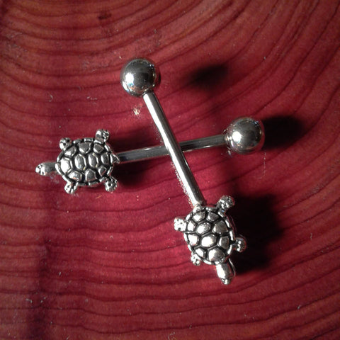 Turtle Nipple Barbells Rose Gold Bar Nipple Rings