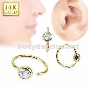 Ball CZ Hoop Ring 14 Karat Solid Yellow Gold 20ga - BodyDazzles