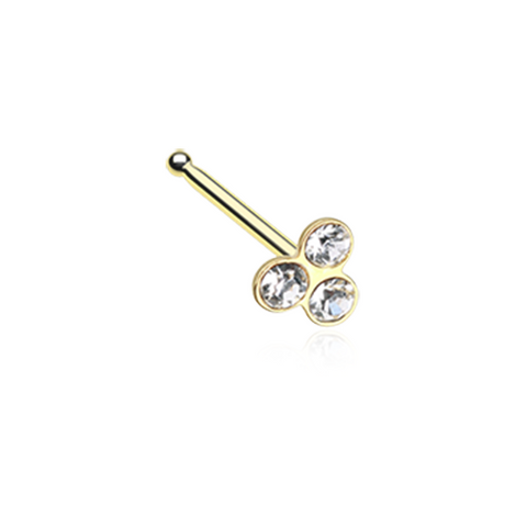 Trinity Gold Gem Nose Stud Ring Nose Bone Triple Rhinestone 20ga - BodyDazzle