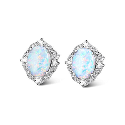 Simulated Opal Earring Sterling Silver, Cubic Zirconia Halo Stud Earring for Women