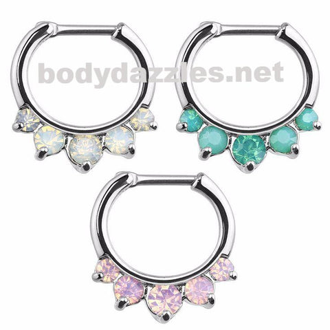 Septum Clicker Opalites  Nose Jewelry Surgical Stainless Steel Body Jewelry Daith