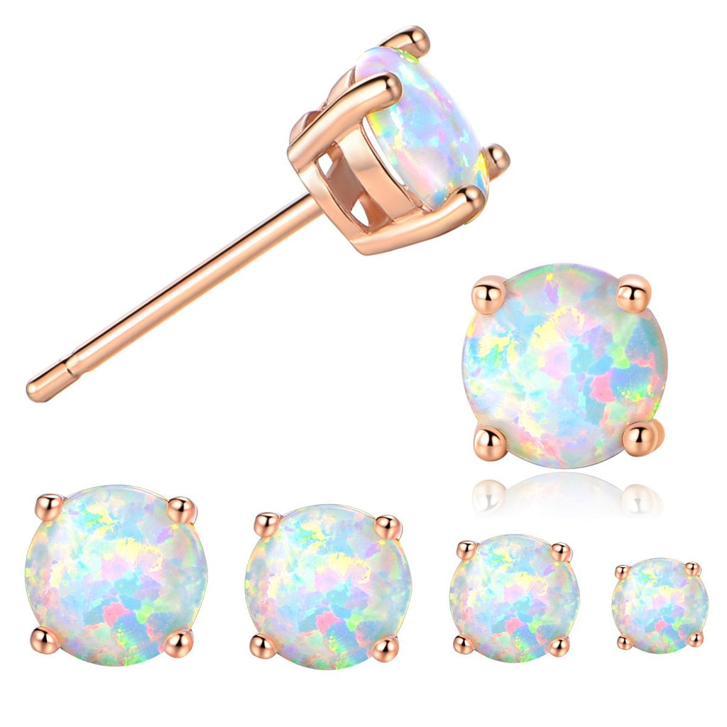 f4b97047e GEMSME 18K Rose Gold Plated Opal Stud Earrings 6MM Round For Women ...