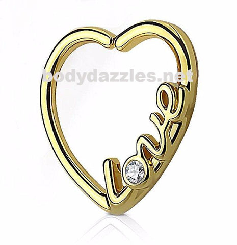 "Golden ""Love"" Heart 16 Gauge Ear Cartilage/Daith Hoop Rings Helix Rook"