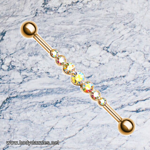 Rose Gold Industrial Barbell Gem Row AB Scaffold Piercing Body Jewelry - BodyDazzle - 1