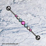 Sparkling Gem Blackline Dazzling Rhinestone Row Industrial Barbell 14ga Scaffold Bar - BodyDazzle - 1