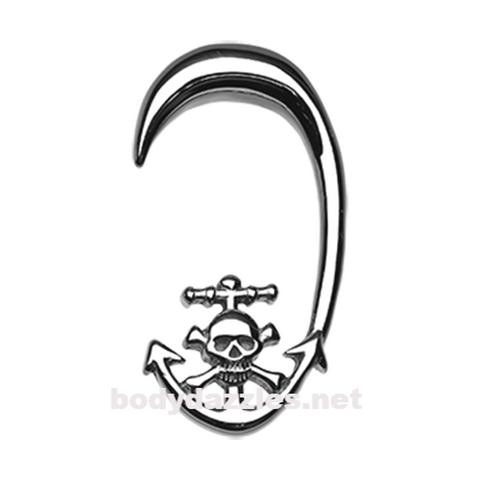 Pair of Skull Pirate's Dock Steel Ear Gauge Hanging Taper Surgical Steel - BodyDazzle