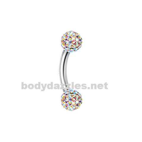 Sprinkle Dot Curved Barbell Eyebrow Ring Rook Daith Ring 16ga Body Jewelry