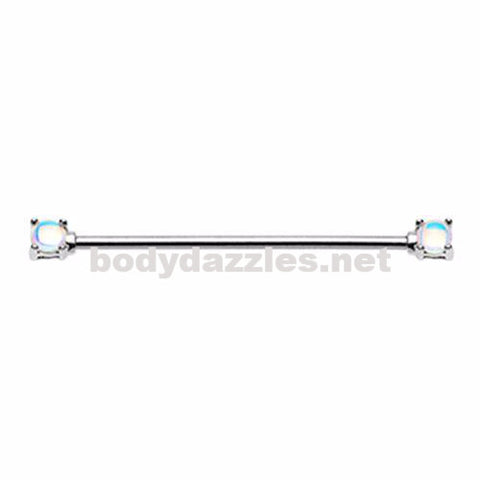 Silver Revo Double Prong Industrial Barbell Scaffold Piercing 14ga Body Jewelry Piercing Jewelry