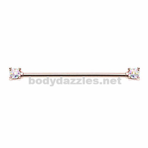 Rose Gold Sprinkle-Dot Double Prong Industrial Barbell 14ga Body Jewelry Piercing Jewelry