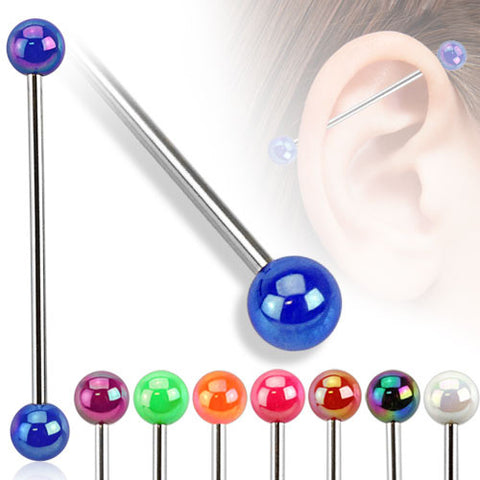 Metallic Coated Industrial Barbell Acrylic Ball  Surgical Steel Industrial Piercing Scaffold - BodyDazzle