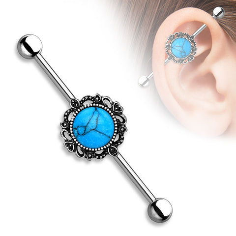 Turquoise Industrial Barbell with Filigree Around 14ga Surgical Steel Body Jewelry - BodyDazzle