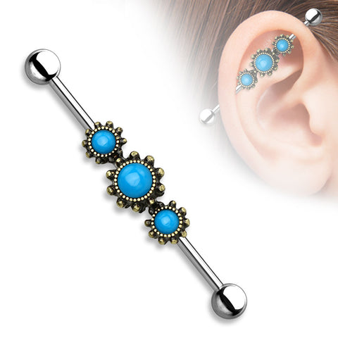 Triple Turquoise Industrial barbell Gold Surgical Steel 14ga Body Jewelry - BodyDazzle